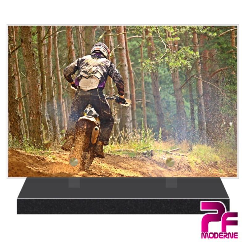 PLAQUE FUNÉRAIRE MOTO CROSS EN FORÊT PFM10356