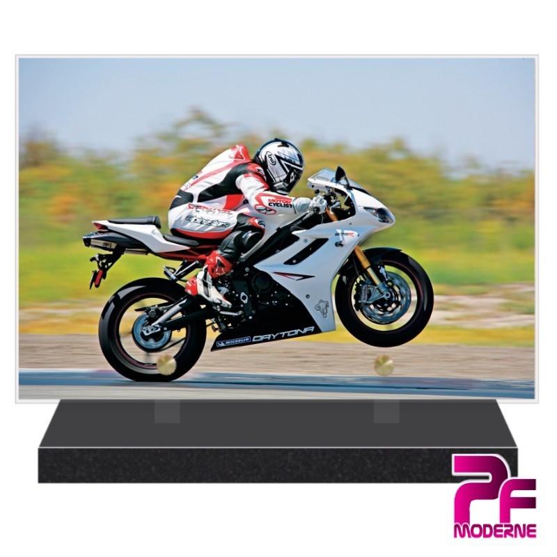 PLAQUE FUNÉRAIRE MOTO DE COURSE PFM6505