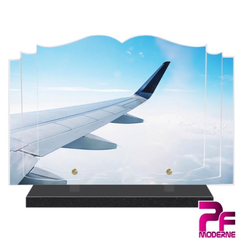 PLAQUE FUNÉRAIRE LIVRE AILE D'AVION ET CIEL PFM7013