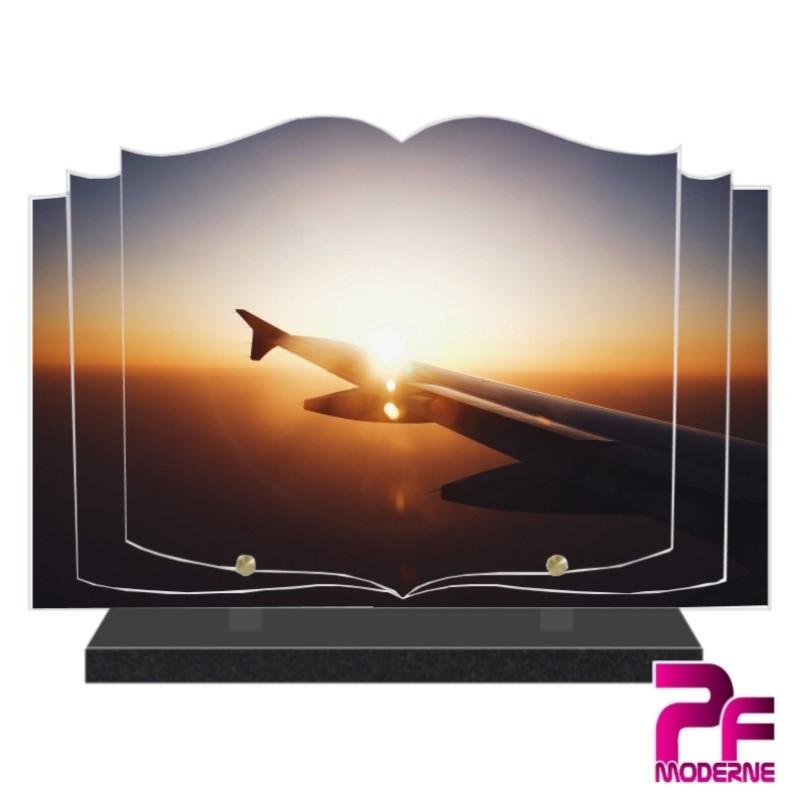 PLAQUE FUNÉRAIRE LIVRE AILE D'AVION ET SOLEIL COUCHANT PFM7014