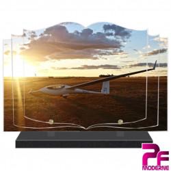 PLAQUE FUNÉRAIRE LIVRE PLANEUR ET SOLEIL COUCHANT PFM7021