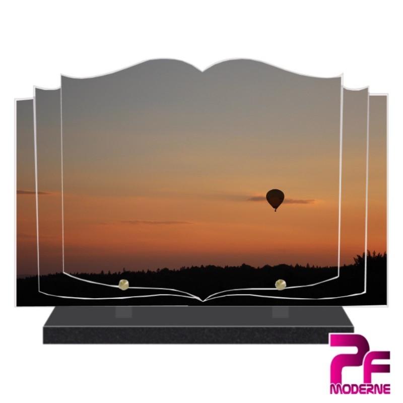 PLAQUE FUNÉRAIRE LIVRE MONTGOLFIÈRE PFM7044