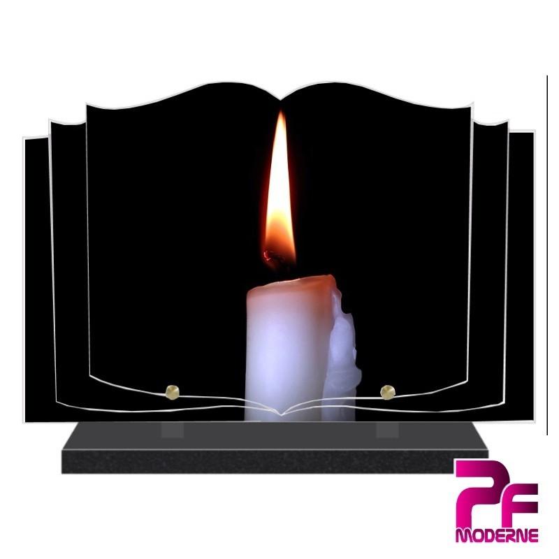 PLAQUE FUNÉRAIRE LIVRE BOUGIE PFM5011