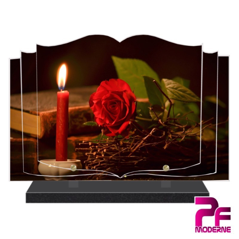 PLAQUE FUNÉRAIRE LIVRE OUVERT BOUGIE ET ROSE ROUGE PFM5029