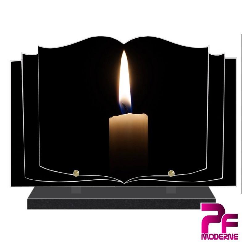 PLAQUE FUNÉRAIRE LIVRE OUVERT BOUGIE PFM5001