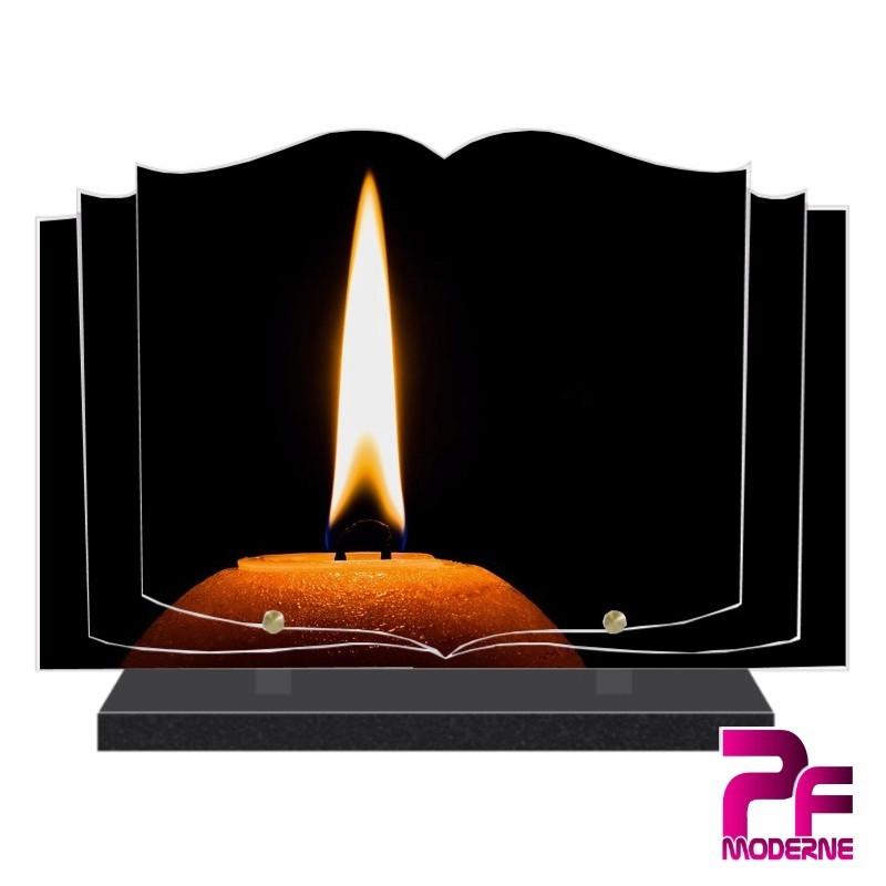 PLAQUE FUNÉRAIRE LIVRE OUVERT BOUGIE PFM5003
