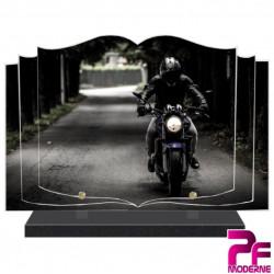PLAQUE FUNÉRAIRE LIVRE MOTO MOTARD PFM6501