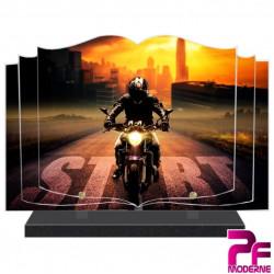 PLAQUE FUNÉRAIRE LIVRE MOTO MOTARD PFM6502