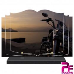 PLAQUE FUNÉRAIRE LIVRE MOTO ET SOLEIL COUCHANT PFM6516
