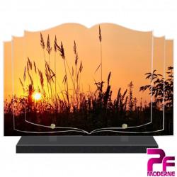 PLAQUE FUNÉRAIRE LIVRE NATURE COUCHER DE SOLEIL PFM2095