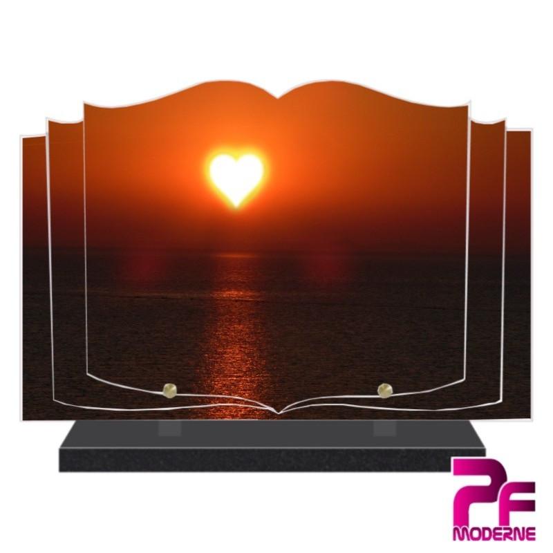 PLAQUE FUNÉRAIRE LIVRE SOLEIL COEUR PFM2054