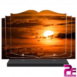 PLAQUE FUNÉRAIRE LIVRE NUAGES ET SOLEIL COUCHANT PFM2055