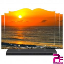 PLAQUE FUNÉRAIRE LIVRE SOLEIL COUCHANT ET PLAGE PFM2067
