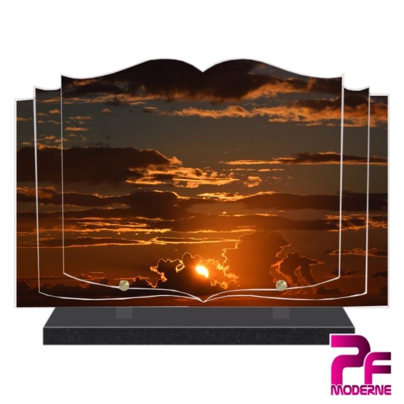 PLAQUE FUNÉRAIRE LIVRE SOLEIL CIEL NUAGES PFM2071