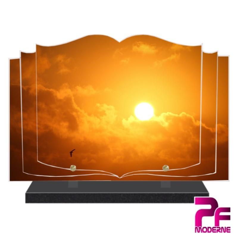 PLAQUE FUNÉRAIRE LIVRE COUCHER DE SOLEIL ROUGE PFM2111