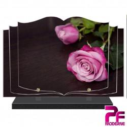 PLAQUE FUNÉRAIRE LIVRE NATURE FLEURS ROSES ROSE PFM2018