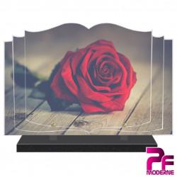 PLAQUE FUNÉRAIRE LIVRE NATURE ROSE ROUGE PFM2023