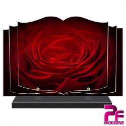 PLAQUE FUNÉRAIRE LIVRE ROSE ROUGE PFM2033