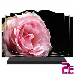 PLAQUE FUNÉRAIRE LIVRE FLEURS ROSE ROSE PFM2036