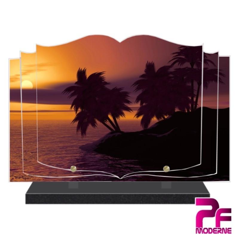 PLAQUE FUNÉRAIRE LIVRE COUCHER DE SOLEIL SUR LA MER PFM2138