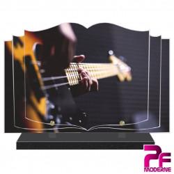 PLAQUE FUNÉRAIRE LIVRE MUSICIEN GUITARE BASS PFM1007