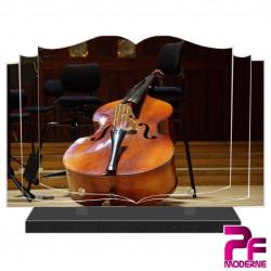 PLAQUE FUNÉRAIRE LIVRE MUSICIEN CONTREBASSE PFM1020
