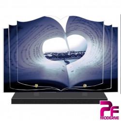 PLAQUE FUNÉRAIRE LIVRE MUSIQUE MUSICIEN FLÛTE PARTITION PFM1027
