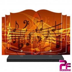 PLAQUE FUNÉRAIRE LIVRE MUSICIEN NOTES DE MUSIQUE PFM1033