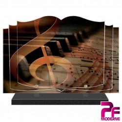 PLAQUE FUNÉRAIRE LIVRE MUSICIEN MUSIQUE PIANO PFM1035