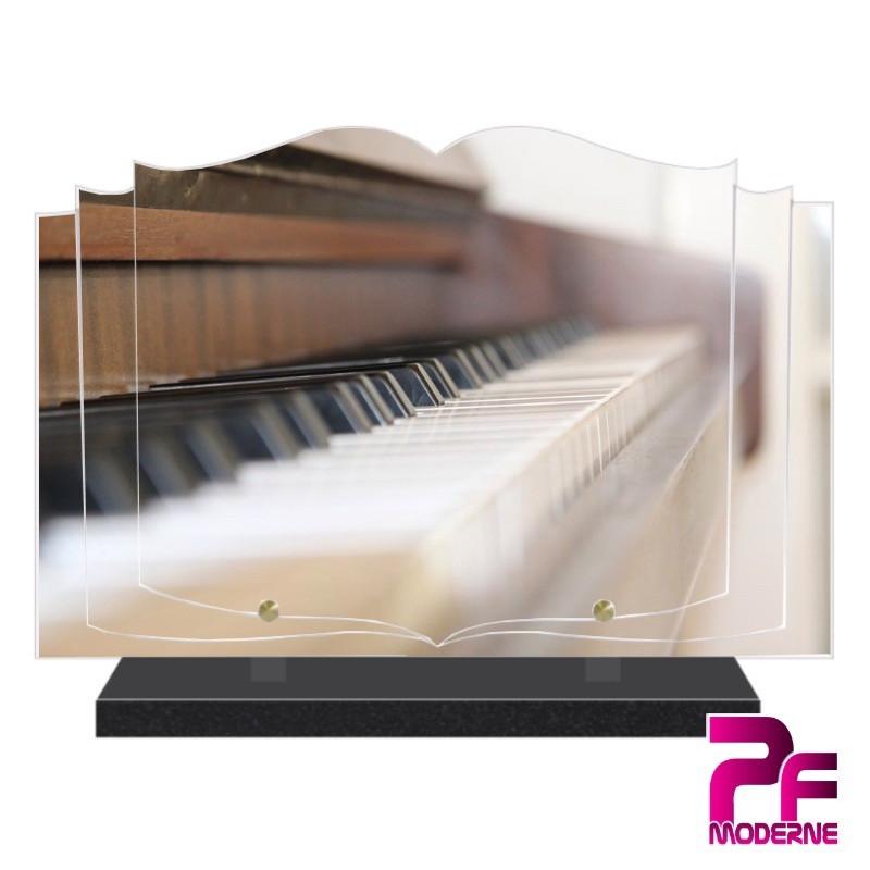 PLAQUE FUNÉRAIRE LIVRE MUSICIEN MUSIQUE PIANO PFM1037