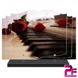 PLAQUE FUNÉRAIRE LIVRE MUSICIEN MUSIQUE PIANO ET ROSE PFM1038