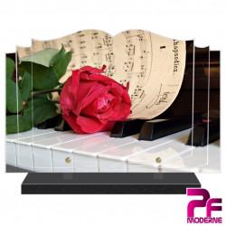 PLAQUE FUNÉRAIRE LIVRE MUSIQUE PIANO PARTITION PFM1039