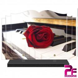 PLAQUE FUNÉRAIRE LIVRE MUSIQUE PIANO ROSE ROUGE PFM1040