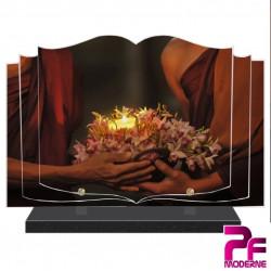 PLAQUE FUNÉRAIRE LIVRE RELIGION BOUDDHISTE BOUGIE PFM6001
