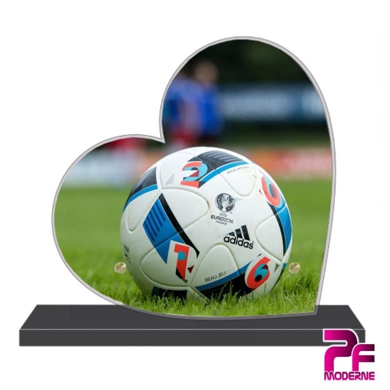 PLAQUE FUNÉRAIRE CŒUR BALLON DE FOOTBALL PFM10162