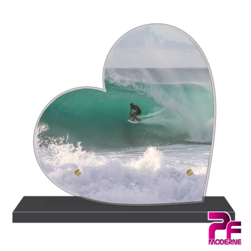 PLAQUE FUNÉRAIRE CŒUR SURF ET SURFEUR PFM10580