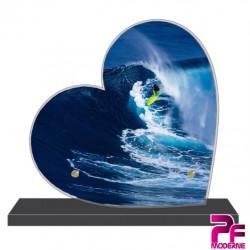 PLAQUE FUNÉRAIRE CŒUR SURF SURFEUR PFM10584