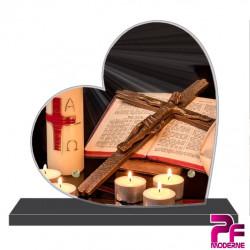 PLAQUE FUNÉRAIRE CŒUR RELIGION CHRÉTIENNE PFM6201