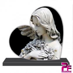 PLAQUE FUNÉRAIRE CŒUR ANGES PFM12014