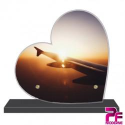 PLAQUE FUNÉRAIRE CŒUR AVION AVIATION VOYAGE PFM7014