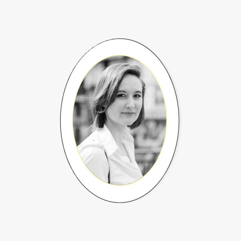 Photo porcelaine ovale verticale filet or - Médaillon photo noir et blanc