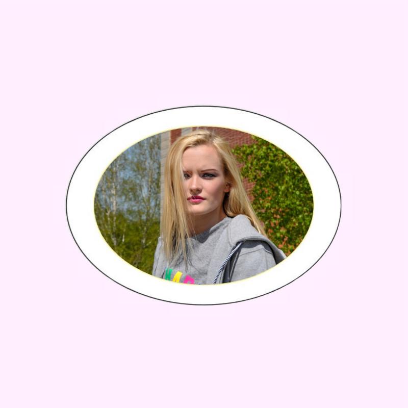 Photo porcelaine ovale horizontale filet or - Médaillon photo couleur