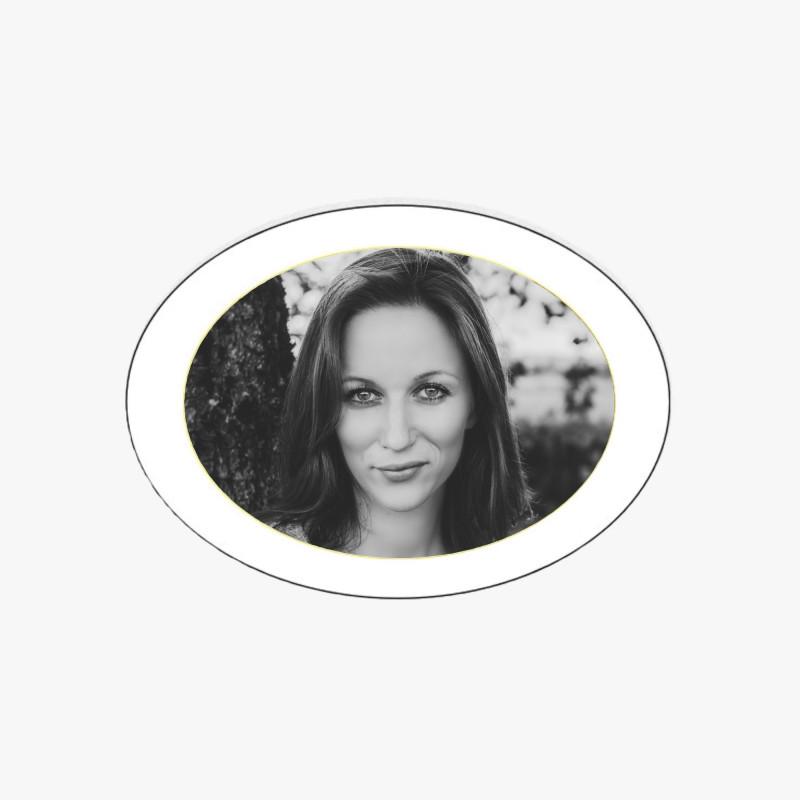 Photo porcelaine ovale horizontale filet or - Médaillon photo noir et blanc