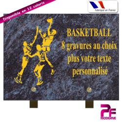 PLAQUE FUNÉRAIRE BASKETBALL A PERSONNALISER SUR PIEDS