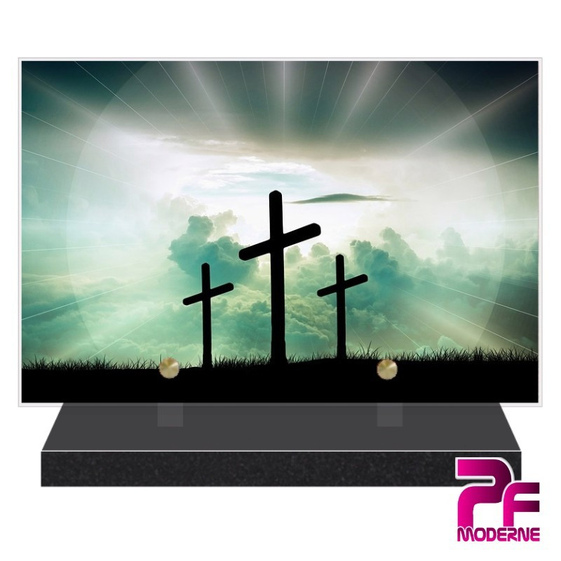 PLAQUE FUNÉRAIRE RELIGION CHRÉTIENNE CROIX PFM6202
