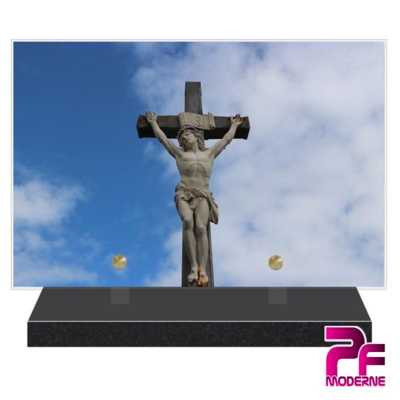 PLAQUE FUNÉRAIRE RELIGION CHRÉTIENNE CHRIST EN CROIX PFM6203