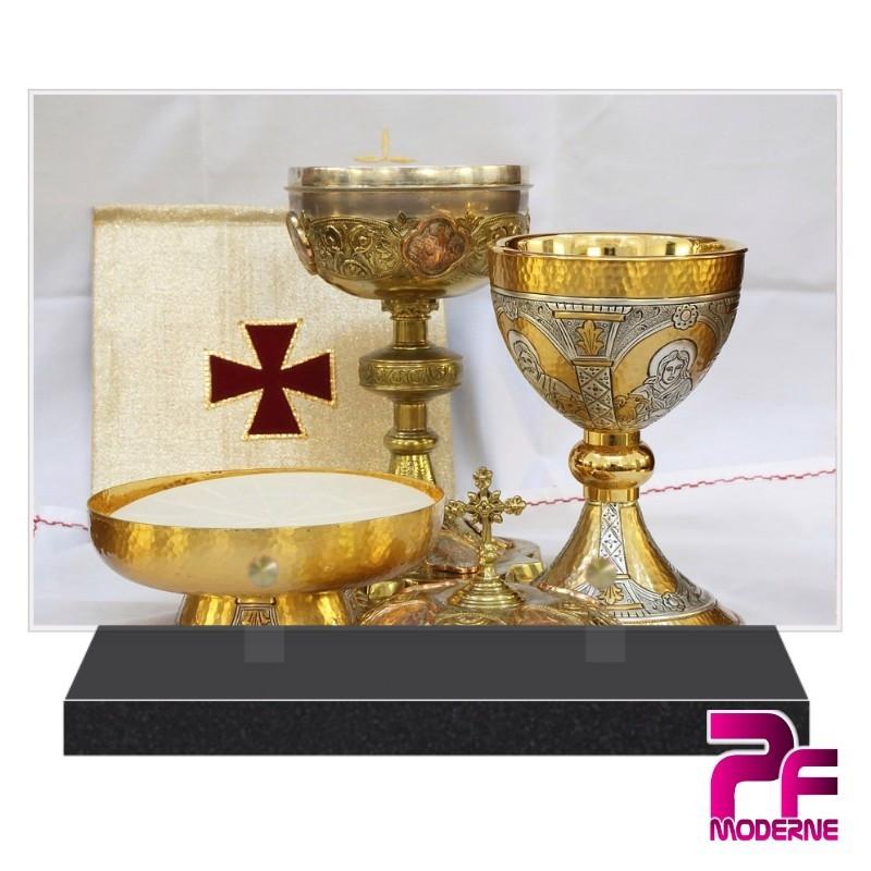 PLAQUE FUNÉRAIRE RELIGION CHRÉTIENNE CALICE OSTIE PFM6207