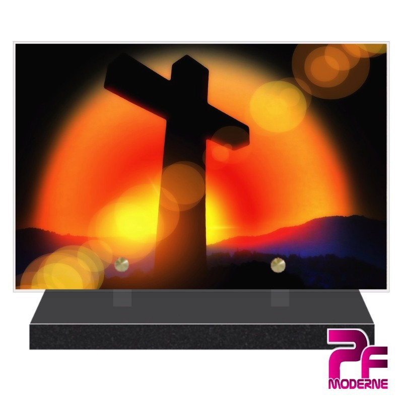 PLAQUE FUNÉRAIRE RELIGION CHRÉTIENNE CROIX PFM6208