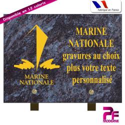 PLAQUE FUNÉRAIRE MARINE NATIONALE A PERSONNALISER SUR PIEDS