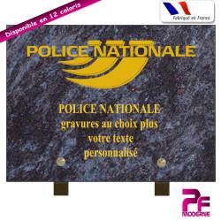 PLAQUE FUNÉRAIRE POLICE NATIONALE A PERSONNALISER SUR PIEDS